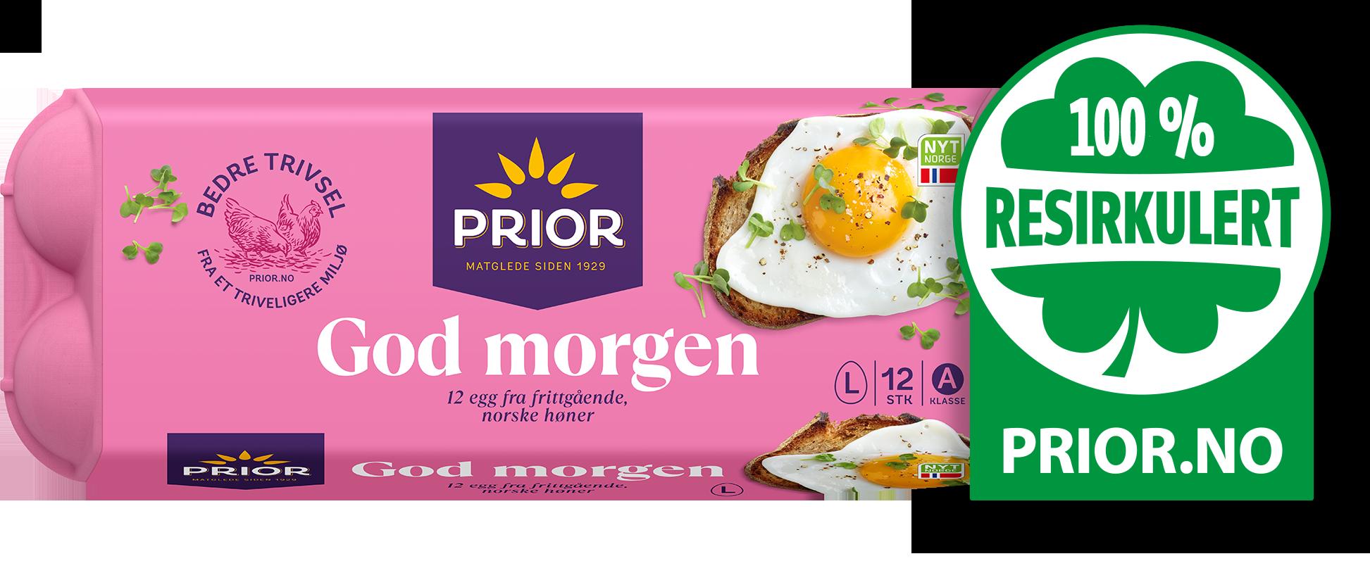 Frokost egg - Eggekartongene til Prior egg er 100% resirkulert!